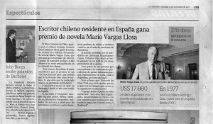 Rodrigo Díaz Cortez, Premio Mario Vargas Llosa 2007